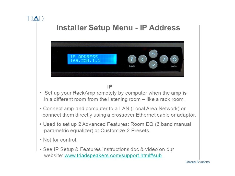 Installer Setup Menu - IP Address