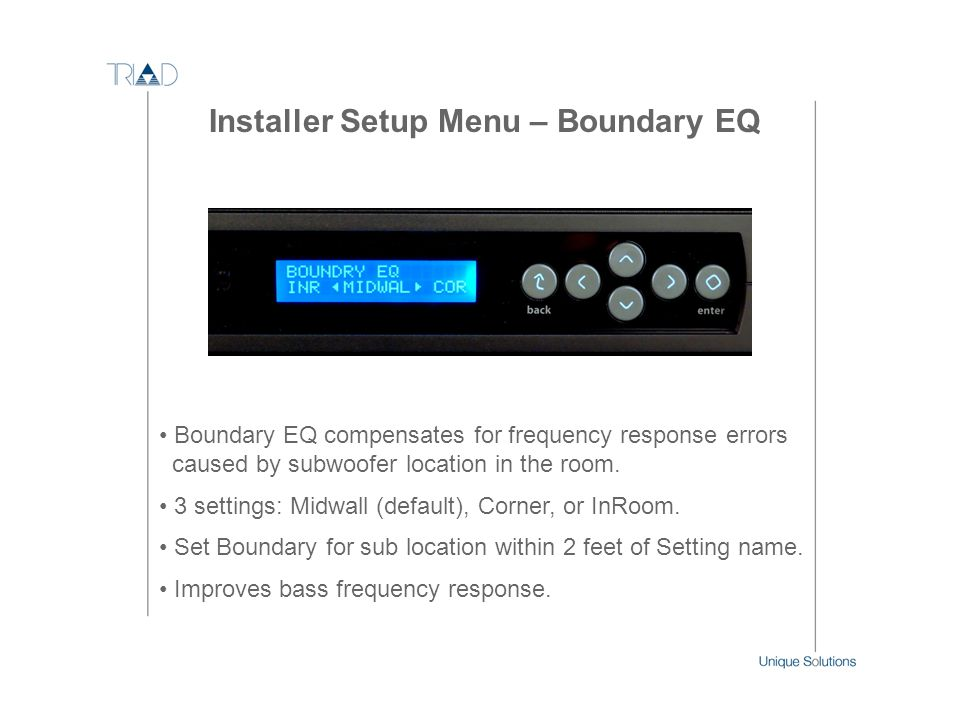 Installer Setup Menu – Boundary EQ