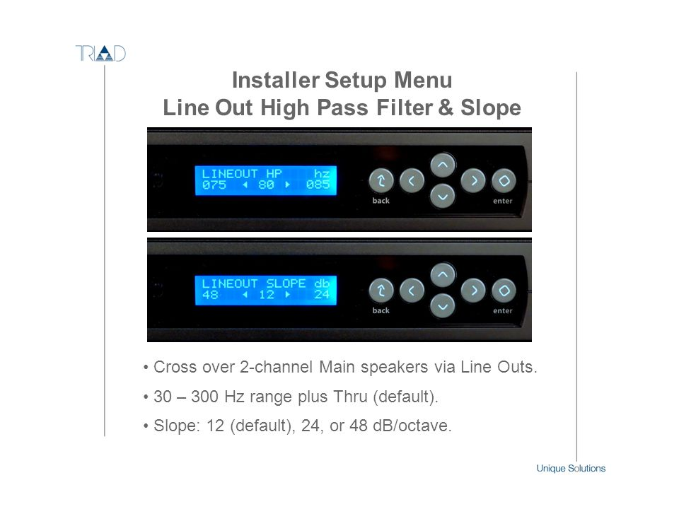 Line Out High Pass Filter & Slope