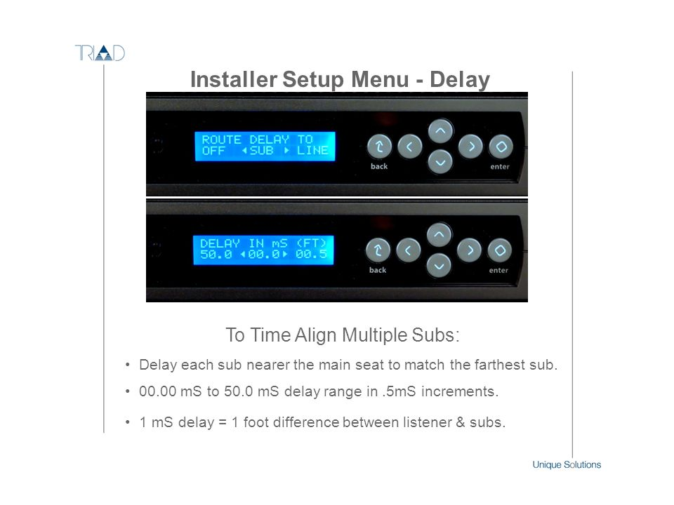 Installer Setup Menu - Delay