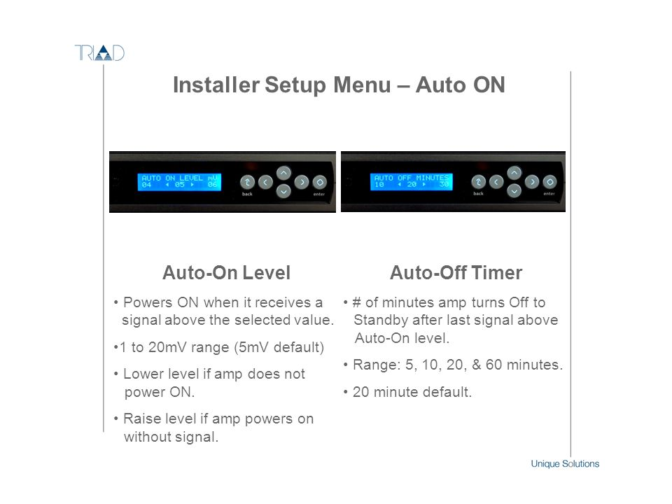 Installer Setup Menu – Auto ON