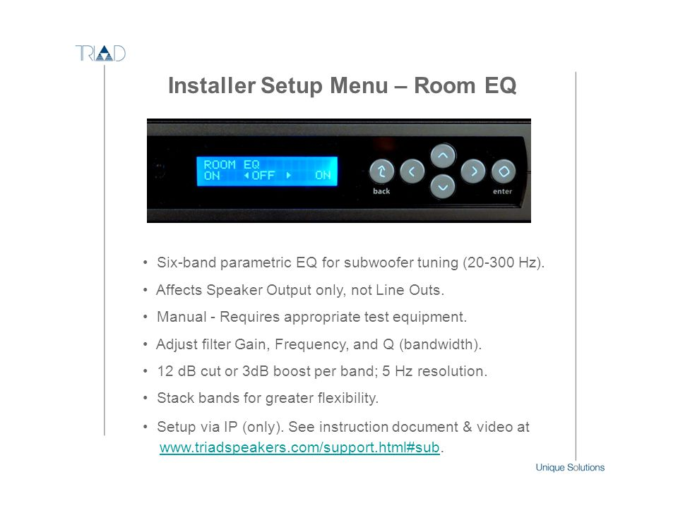 Installer Setup Menu – Room EQ