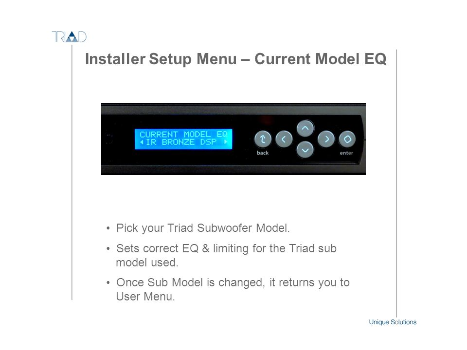 Installer Setup Menu – Current Model EQ
