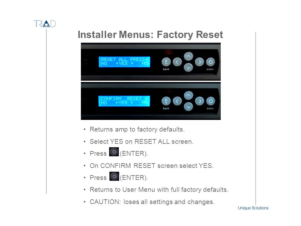 Installer Menus: Factory Reset