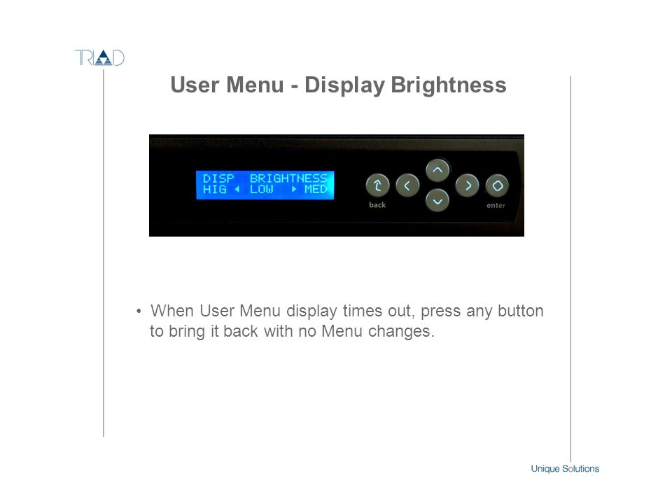 User Menu - Display Brightness