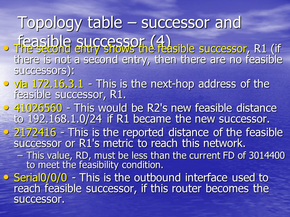 Topology table – successor and feasible successor (4)