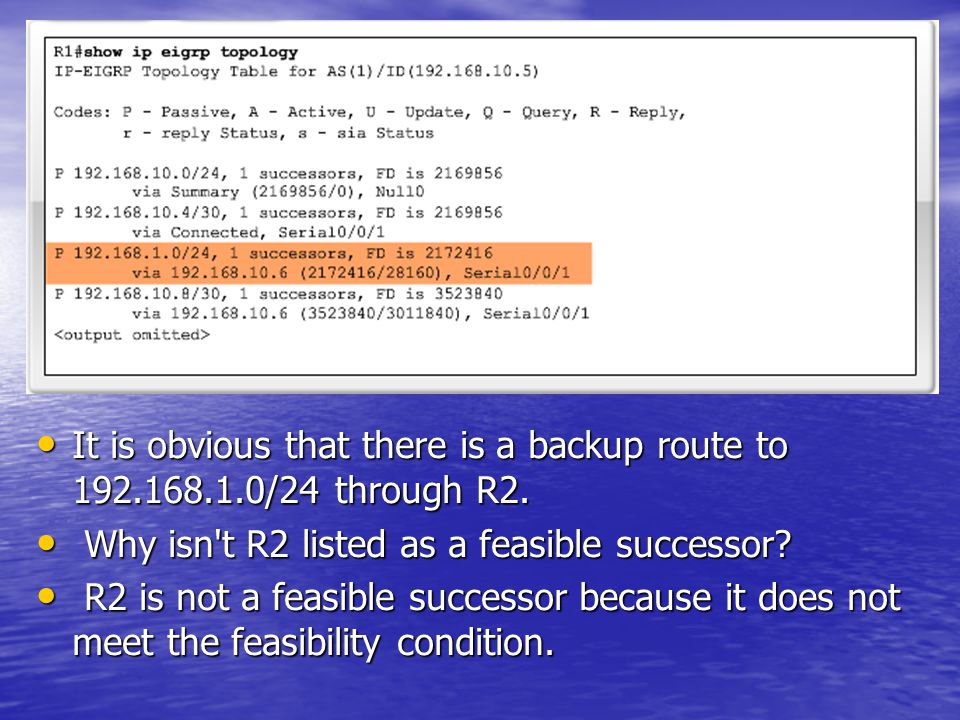 It is obvious that there is a backup route to 192. 168. 1