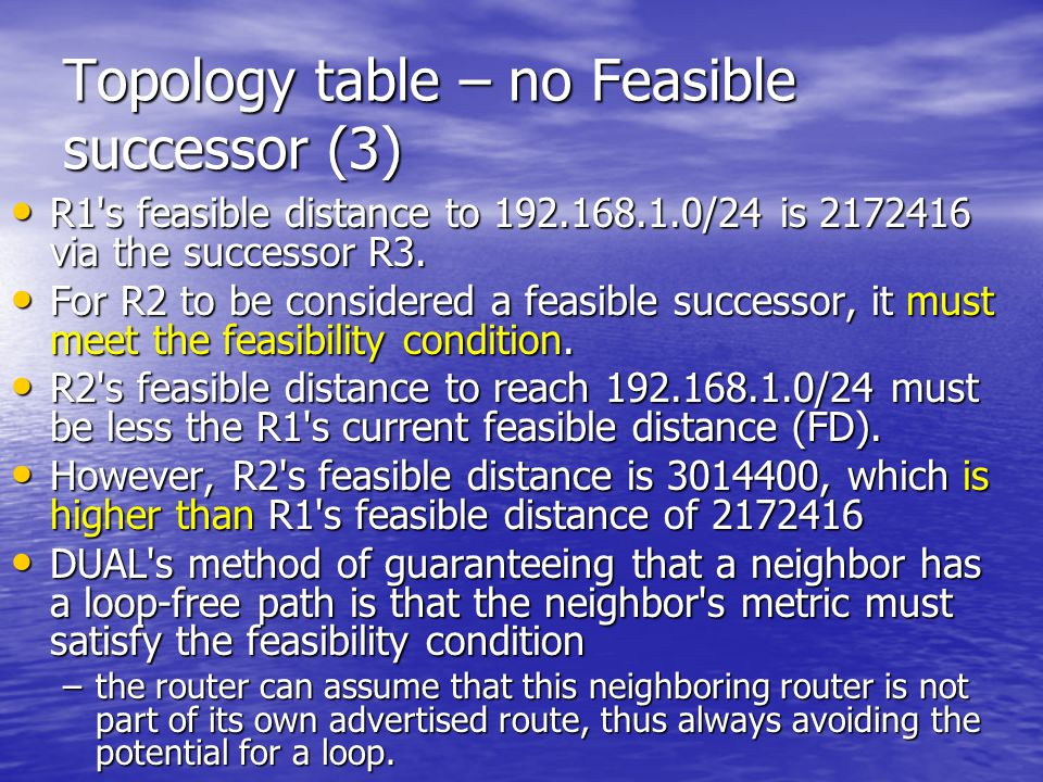 Topology table – no Feasible successor (3)