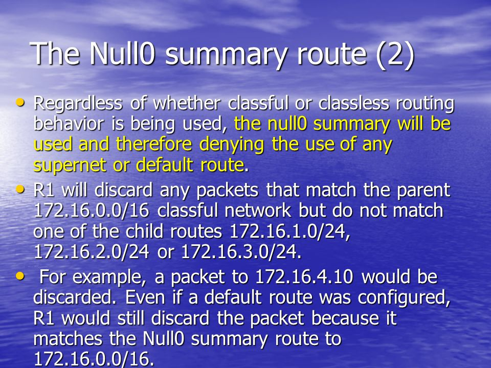 The Null0 summary route (2)