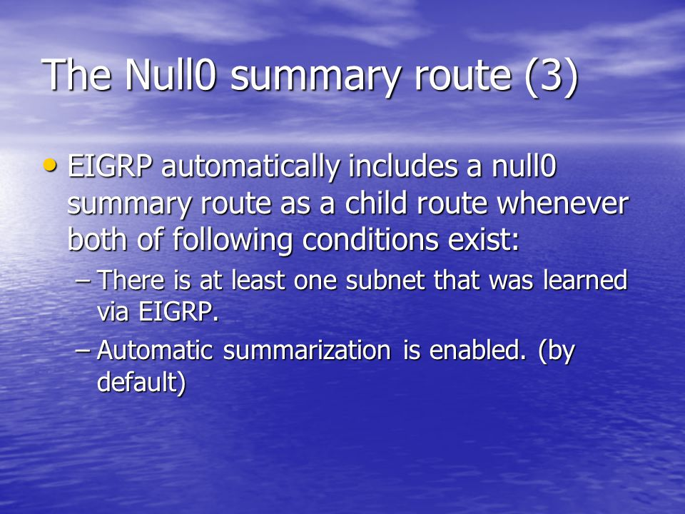 The Null0 summary route (3)
