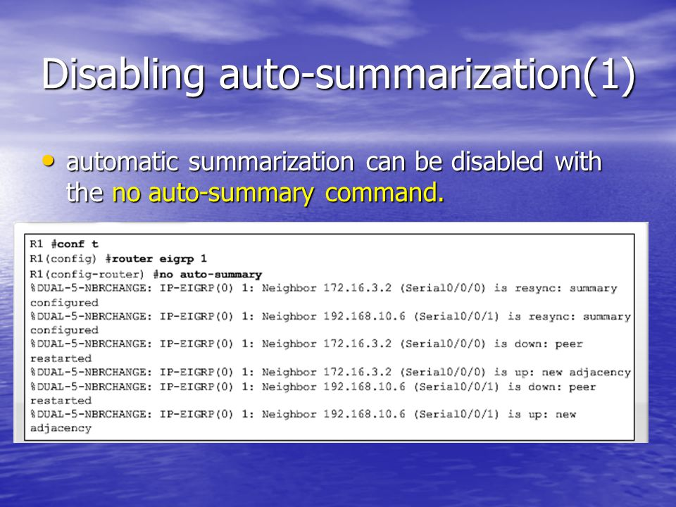 Disabling auto-summarization(1)