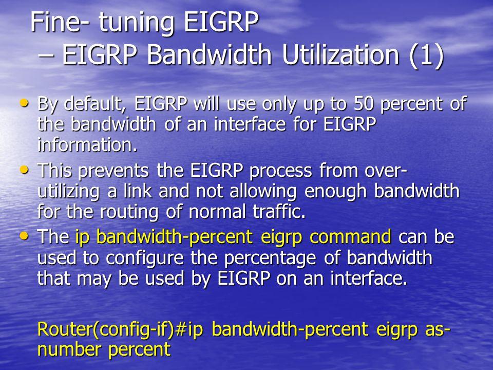 Fine- tuning EIGRP – EIGRP Bandwidth Utilization (1)