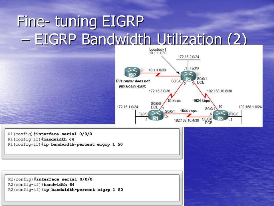 Fine- tuning EIGRP – EIGRP Bandwidth Utilization (2)