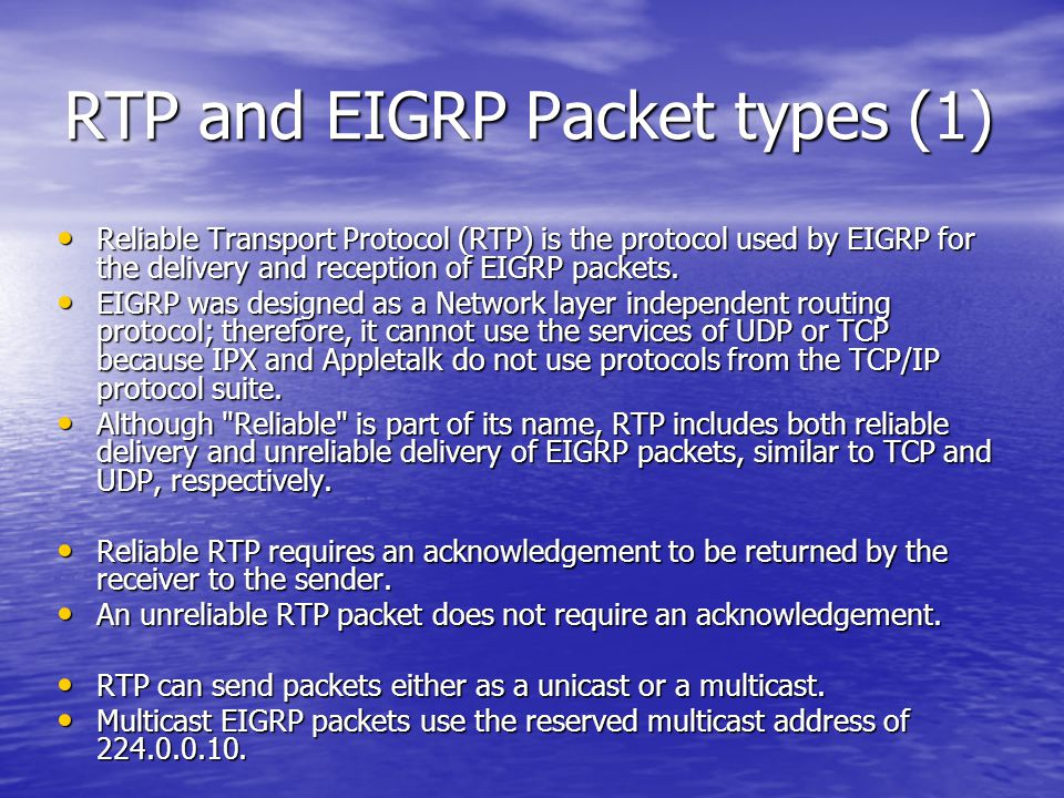 RTP and EIGRP Packet types (1)