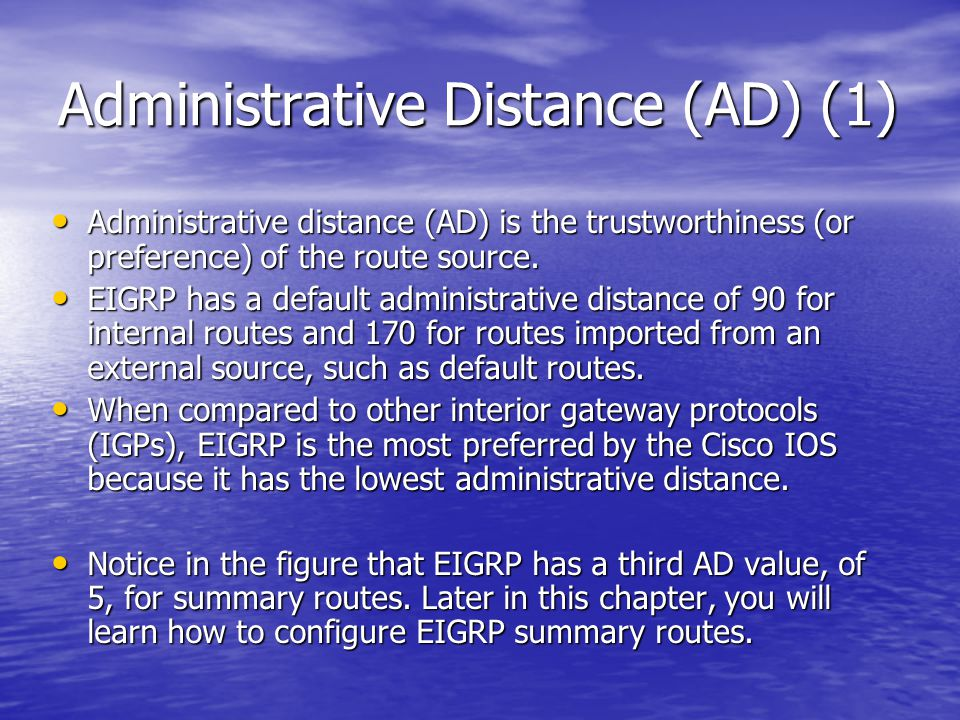 Administrative Distance (AD) (1)
