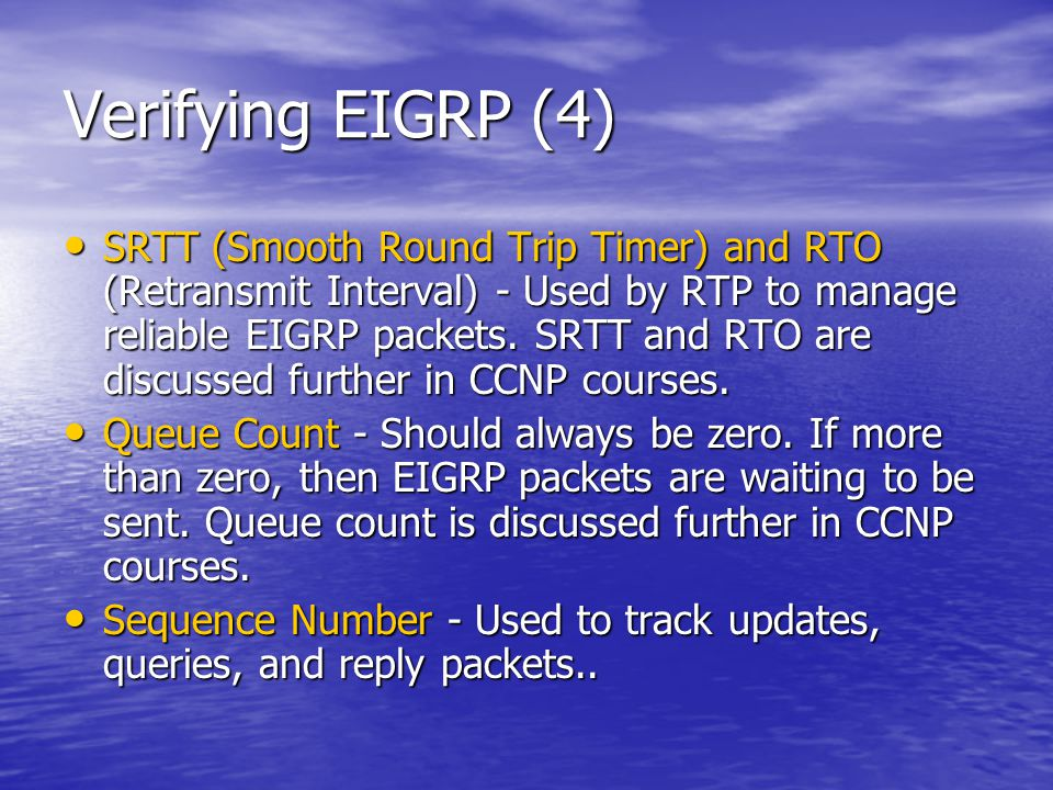 Verifying EIGRP (4)
