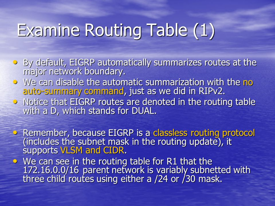 Examine Routing Table (1)