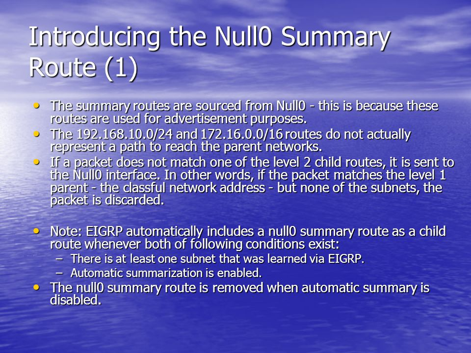 Introducing the Null0 Summary Route (1)