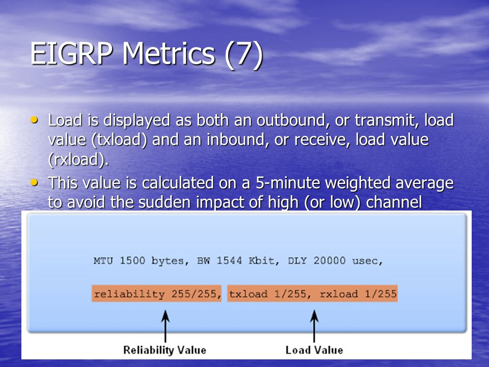 EIGRP Metrics (7) Load is displayed as both an outbound, or transmit, load value (txload) and an inbound, or receive, load value (rxload).