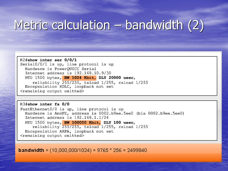 Metric calculation – bandwidth (2)
