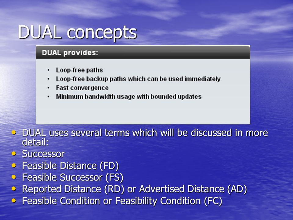 DUAL concepts DUAL uses several terms which will be discussed in more detail: Successor. Feasible Distance (FD)