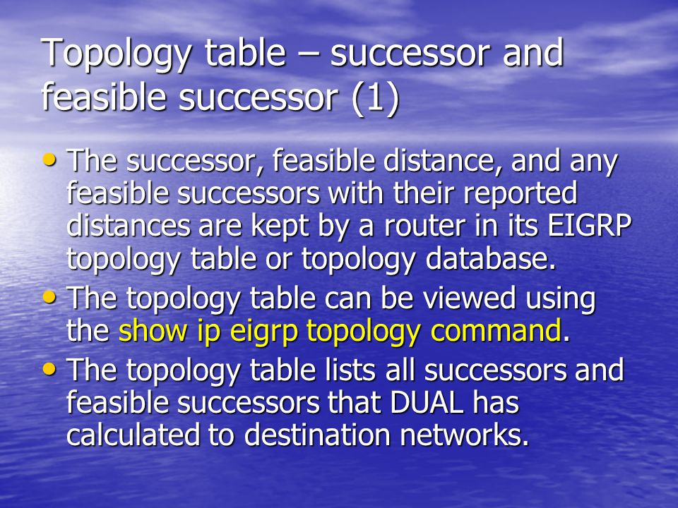 Topology table – successor and feasible successor (1)