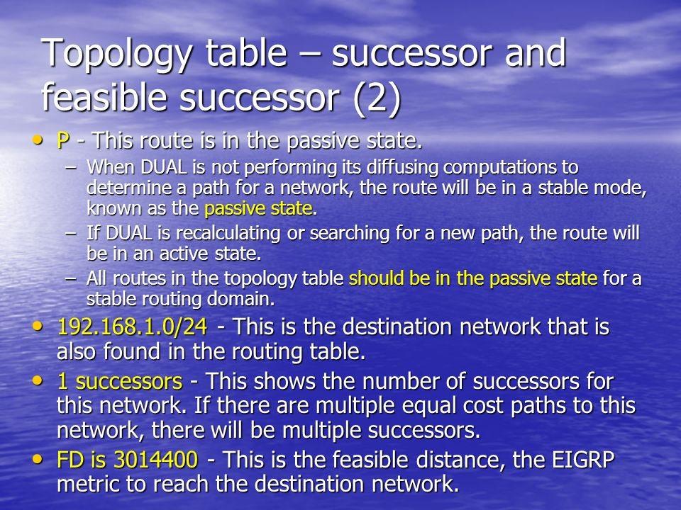 Topology table – successor and feasible successor (2)