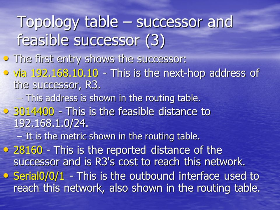 Topology table – successor and feasible successor (3)
