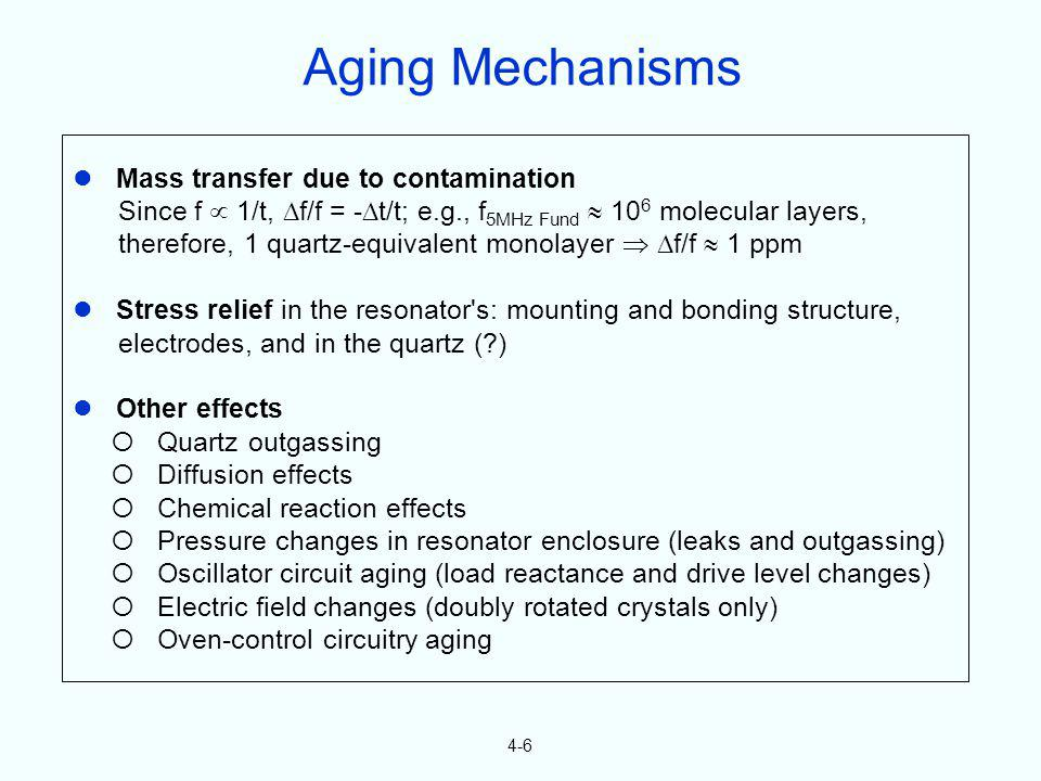 Aging Mechanisms  Mass transfer due to contamination