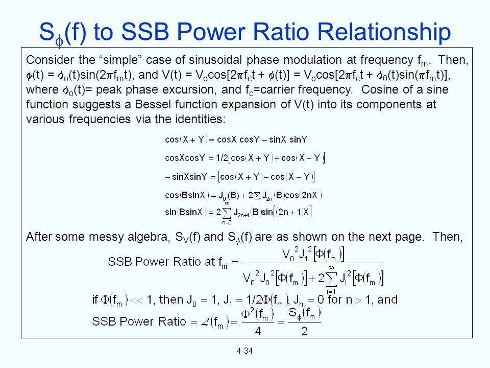 S(f) to SSB Power Ratio Relationship