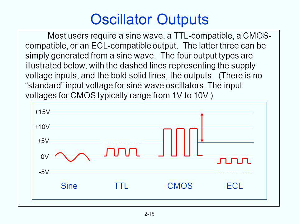 Oscillator Outputs Most users require a sine wave, a TTL-compatible, a CMOS-compatible, or an ECL-compatible output. The latter three can be.