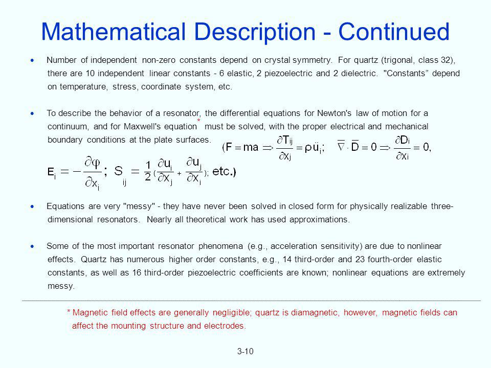 Mathematical Description - Continued