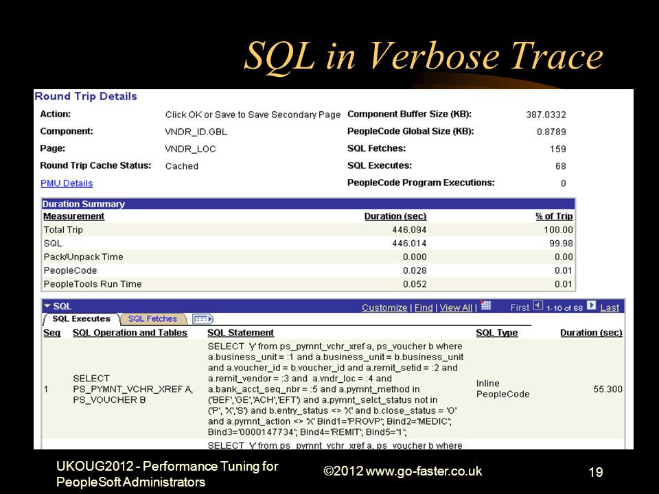 Draft Presentation 01/04/2017. SQL in Verbose Trace. UKOUG2012 - Performance Tuning for PeopleSoft Administrators.