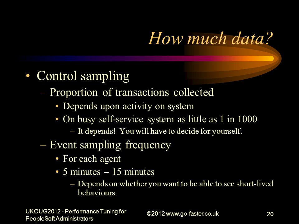 How much data Control sampling Proportion of transactions collected