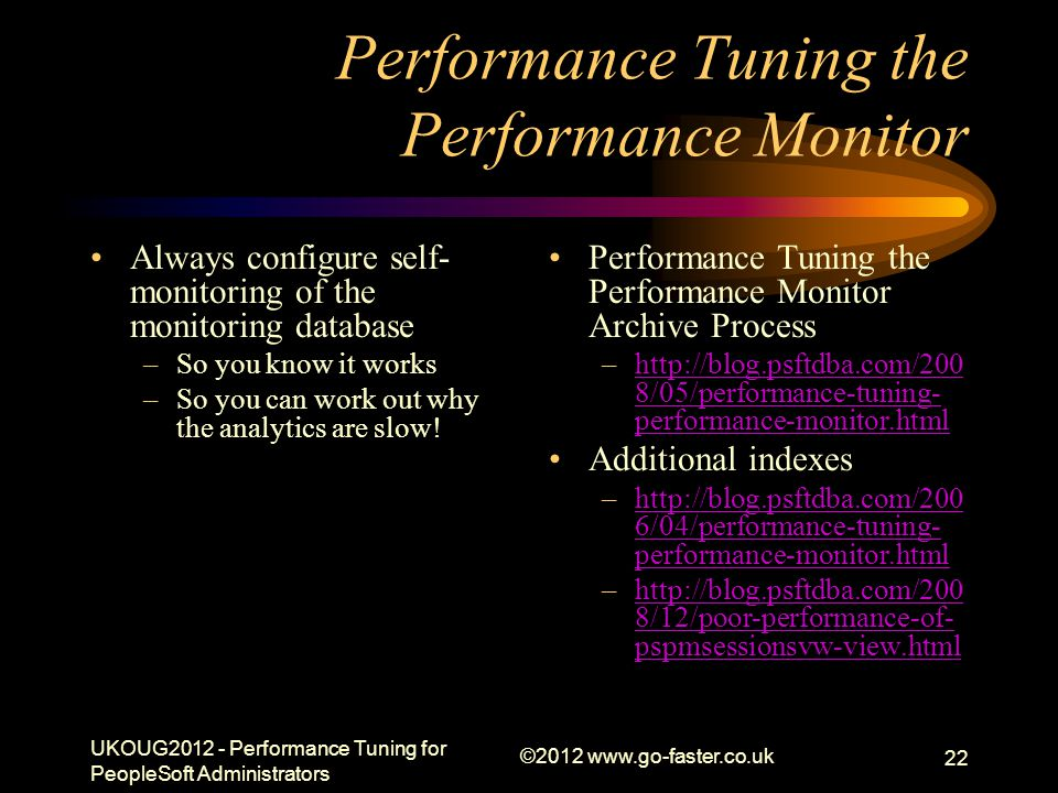 Performance Tuning the Performance Monitor