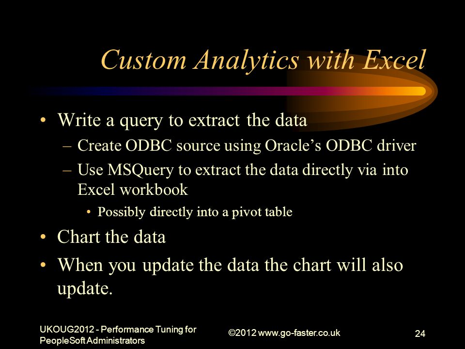 Custom Analytics with Excel