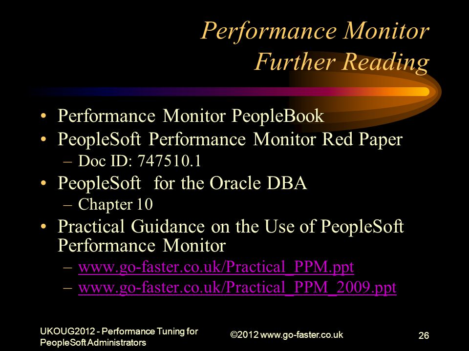 Performance Monitor Further Reading