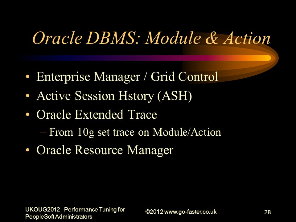 Oracle DBMS: Module & Action