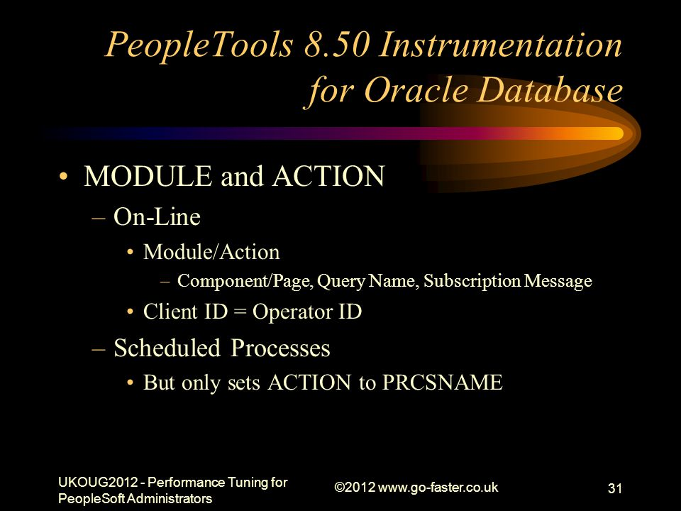 PeopleTools 8.50 Instrumentation for Oracle Database