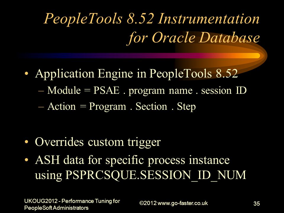 PeopleTools 8.52 Instrumentation for Oracle Database