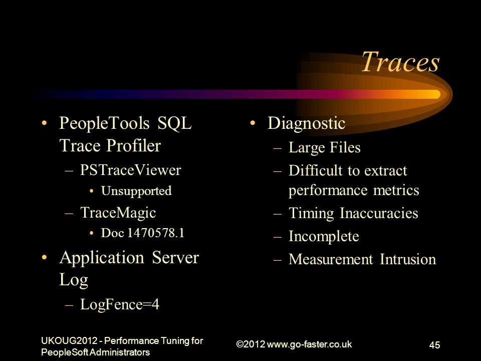 Traces PeopleTools SQL Trace Profiler Application Server Log