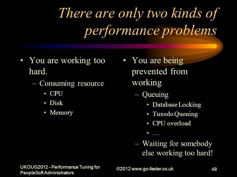 There are only two kinds of performance problems