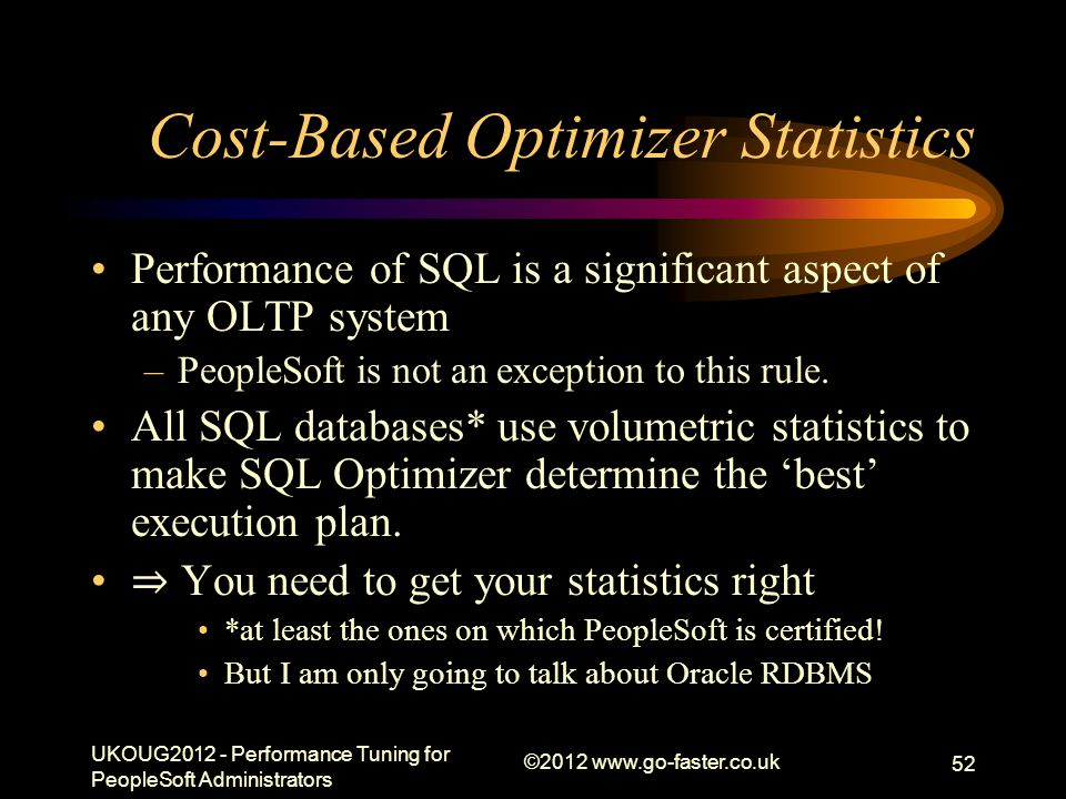 Cost-Based Optimizer Statistics