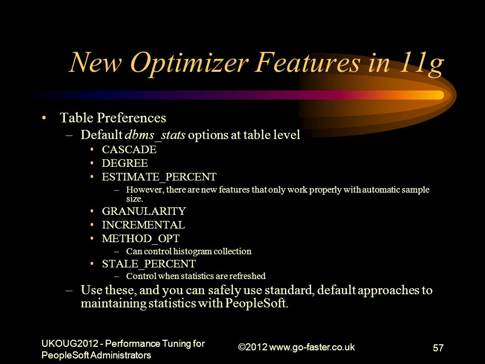 New Optimizer Features in 11g