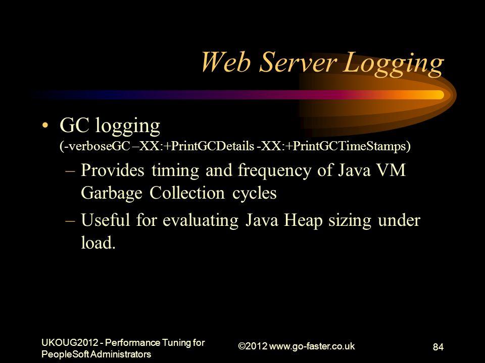 Draft Presentation 01/04/2017. Web Server Logging. GC logging (-verboseGC –XX:+PrintGCDetails -XX:+PrintGCTimeStamps)