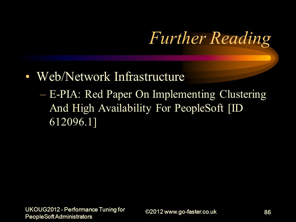 Further Reading Web/Network Infrastructure