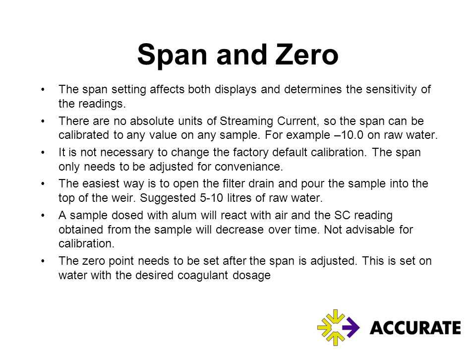 Span and Zero The span setting affects both displays and determines the sensitivity of the readings.