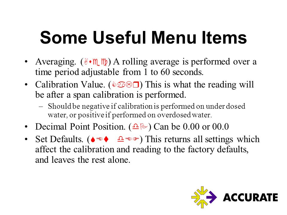 Some Useful Menu Items Averaging. (Asec) A rolling average is performed over a time period adjustable from 1 to 60 seconds.