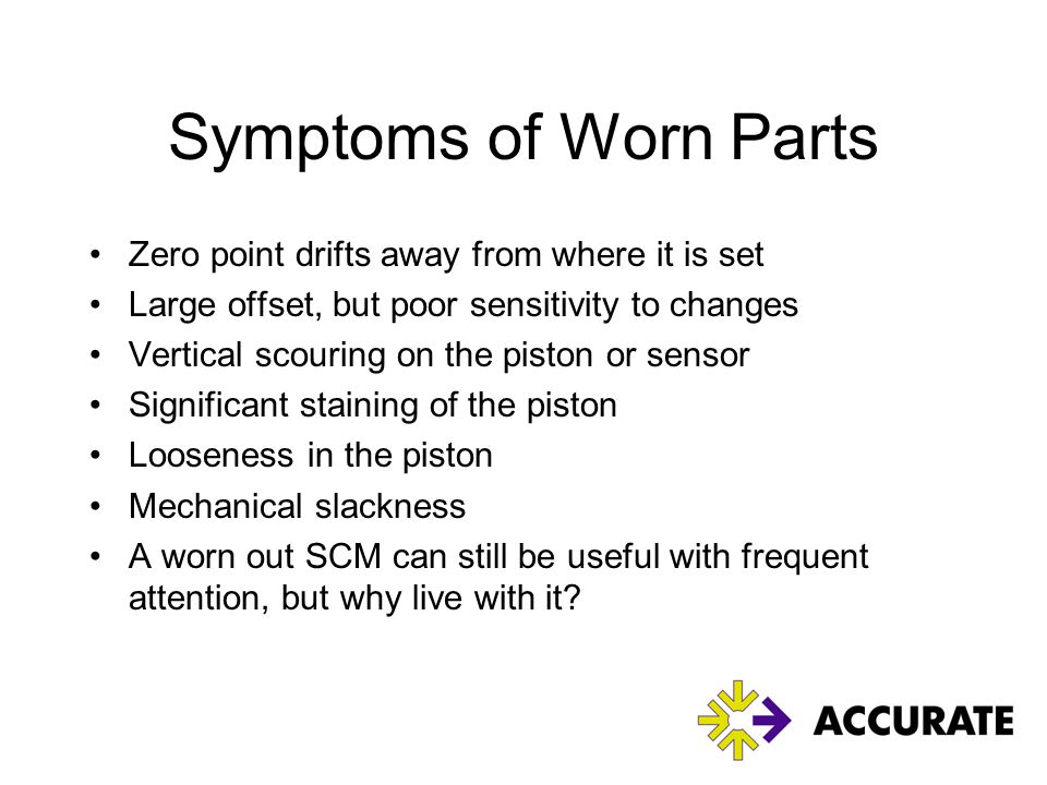 Symptoms of Worn Parts Zero point drifts away from where it is set
