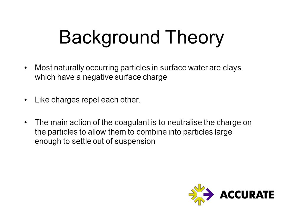 Background Theory Most naturally occurring particles in surface water are clays which have a negative surface charge.